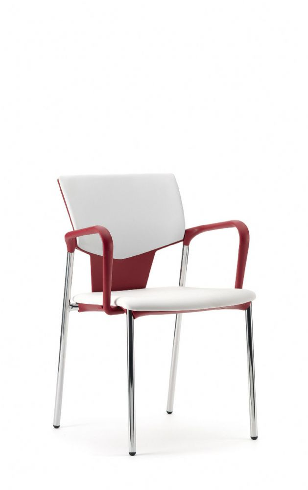 Pledge Ikon Chair With Upholstered Seat And Back With 4 Leg Frame with Fixed Arms